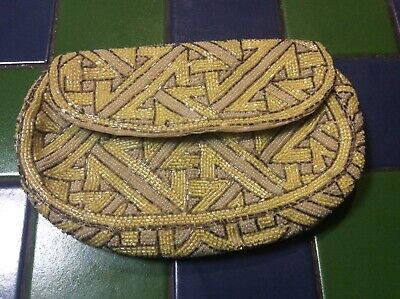 Vintage Beaded Clutch Bag / Purse Handmade in France Small size