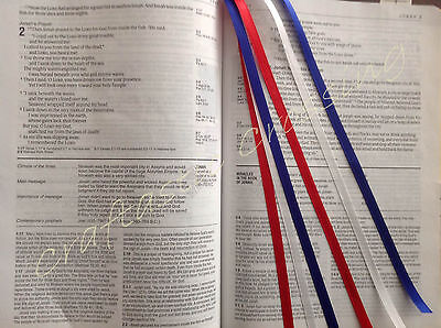RED WHITE BLUE ribbons multi page bookmark Bible study, hymnal, journal USA gift