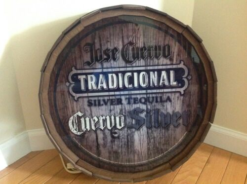"JOSE CUERVO SILVER BARREL LIGHTED SIGN MAN CAVE BAR 17"" ROUND"