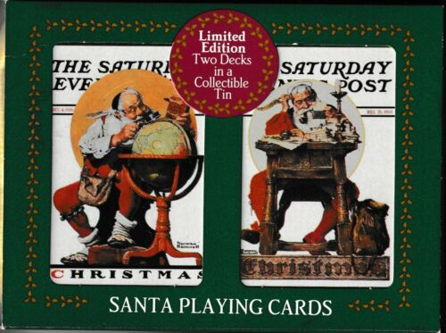 2 Decks of Coca Cola Norman Rockwell Santa Playing Cards in a Collectible Tin