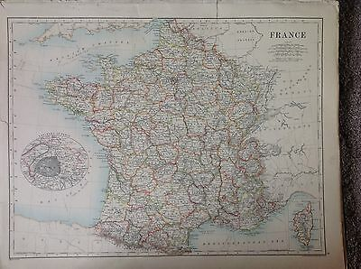 France or Spain & Portugal Antique Map 1891 Large Double Sided, Lisbon Paris