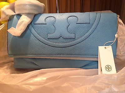 NWT  IN PLASTIC RARE Tory Burch All T Foldover Bag/Clutch $425 Juniper Blue (All T Tory Burch)