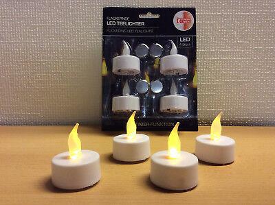 Teelichter 4er Set mit 6 Stunden Timer Funktion mit gelb flackernder LED