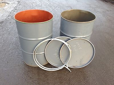 5 x 45 gallon STEEL DRUMS for Incinerator/Storage/Oil/Animal feed CLEAN & DRY!