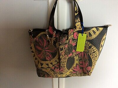 versace jeans black/pink/yellow tote bag bnwt