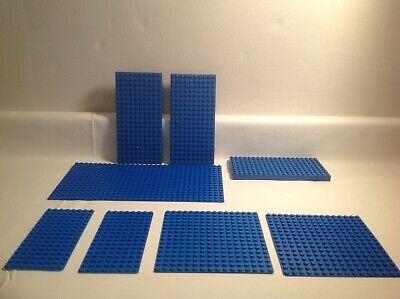 LEGO 8X Mixed Lot Blue Base Plates Bricks Thin Thick 8x16, 10x20, 16x16 16x32
