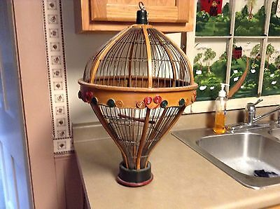 Antique Hanging Hot Air Balloon Bird Cage Hand Painted Wood Wire RARE