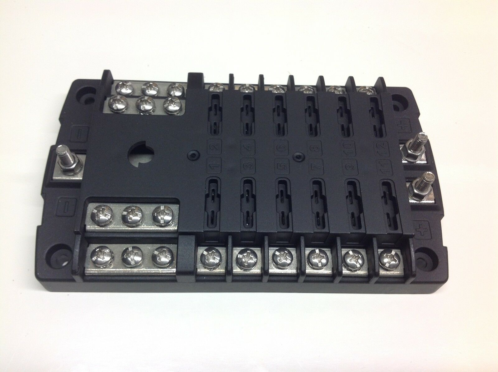 12 Way Standard Blade Fuse Box With Positive Bus Bars Negative In 2 Of 3 Bar 12v 24v