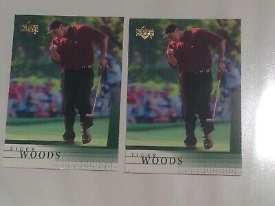 (2) Tiger Woods 2001 Upper Deck Golf RC Rookie #1  2 Card Lot