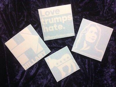 Hillary Clinton 4-PACK Vinyl Decal Bumper Sticker Collection