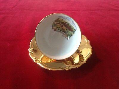 Sammeltasse Mokkatasse Porzellan Golddekor Einsiedeln Kloster
