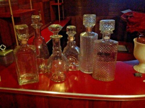 Rare OLD Vintage~BOURBON WHISKEY Diamond GLASS DECANTER Bar BOTTLE LOT 6~Scarce