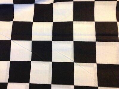 BLACK WHITE CHECKER BOARD NASCAR RACING FLAG CHEF SEW FABRIC, 45