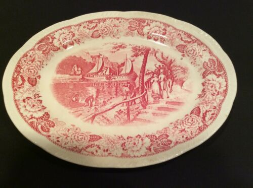 Vintage Homer Laughlin transferware platter, First Steamboat Clermont