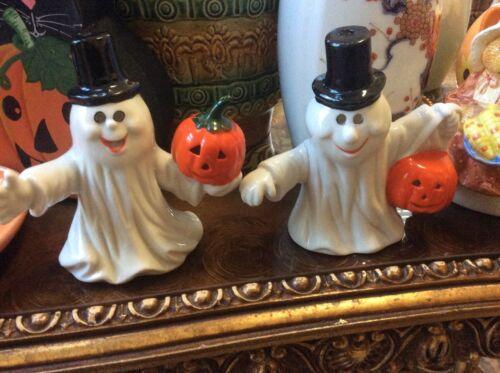 Vintage Silvestri 2 (two) Halloween Ghosts Pumpkins Voltive holders