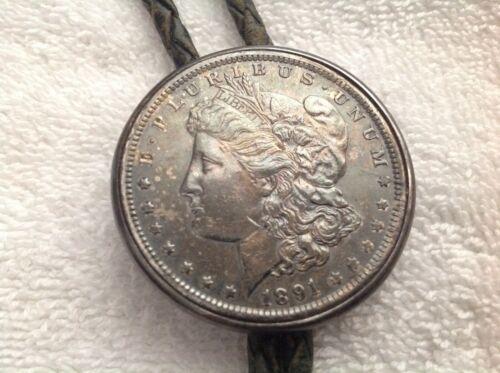 STERLING SILVER 1891 MORGAN DOLLAR BOLO TIE