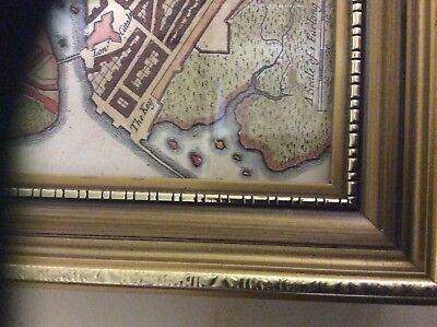 "Small Map of Galway, 5"" x 4"" 1730 reproduction canvas map , framed."