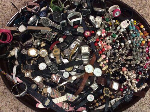 Great Lot 80 Mixed Watches & 30 Beaded Bands Untested Parts Repair Seiko Guess +