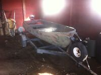 12 ft tinny camo with trailer and 9.9