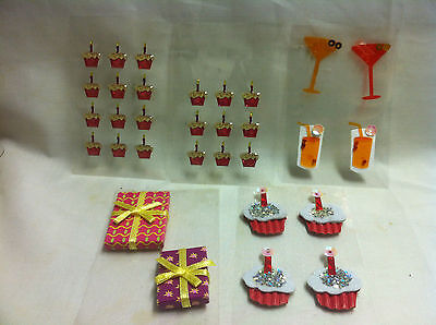 Scrap Book Embellishments- Stickers- cup cakes, drink glasses