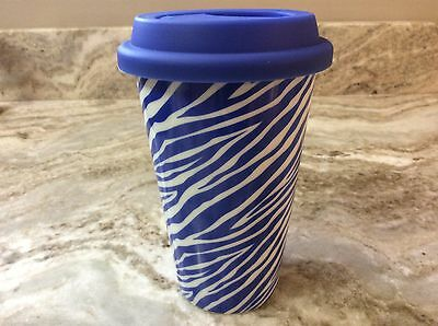 Print Insulated Travel Mug (Eco One Ceramic Double Wall Insulated Travel Coffee Mug. Blue Zebra Print. New.)