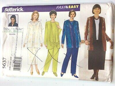 Butterick 5637  Jacket, Top, Skirt & Pants          Size   26W - 28W - 30W Jacket Top Skirt Pants