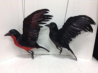 Grandinroad Halloween Prop Open Winged Crow Raven Bird Blood Red Glitter Set 2 (Halloween 2 Opening)