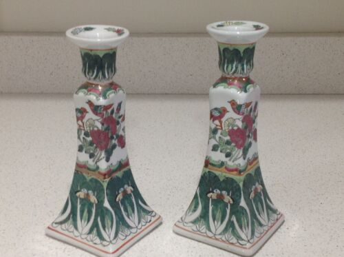 Vintage FamilleRose Chinese Porcelain Candlestick Holders Set Of 2 Hand Painted.