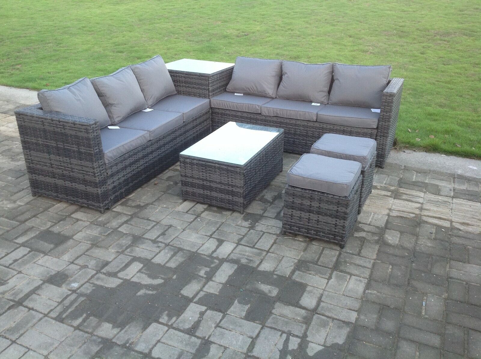 Garden Furniture - 8 seater grey rattan sofa with 2 table set conservatory outdoor garden furniture