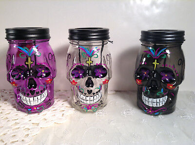 3 Piece Set Day Of The Dead Painted Glass Mason Style Tea Light Jars - Painted Halloween Mason Jars