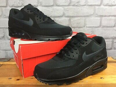 NIKE MENS AIR MAX 90 ESSENTIAL TRIPLE BLACK TRAINERS VARIOUS SIZES RRP