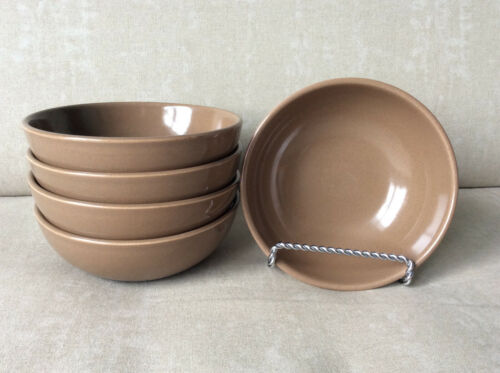 Russel Wright Iroquois Casual China – 5 nutmeg brown coupe cereal bowls 5 1/4""