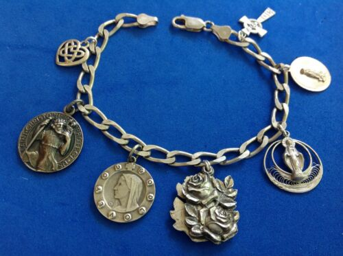 """Vintage Sterling Silver Saint Medal Charm Bracelet 3 way Slide Medal 8"""""""