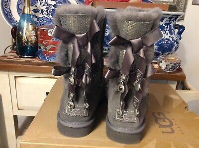 UGG GRAY BAILEY BOW BLING SUEDE/ SHEEPSKIN BOOTS, WOMENS US 8/ EUR 39
