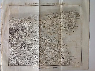 Kent, Isle Of Thanet,  c1829 Antique Map Rare Sandwich Ramsgate, England, Atlas