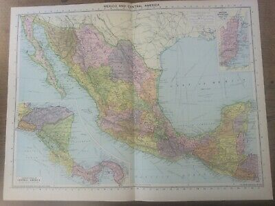 Vintage Antique 1939 Philips Map 20x15 Mexico & Central America