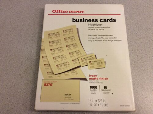 """Office Depot Brand 388-309 Matte Business Cards 2"""" x 3 1/2"""", Ivory Pack Of 1,000"""