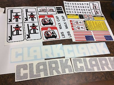 Clark forklift decal kit with safety decals.