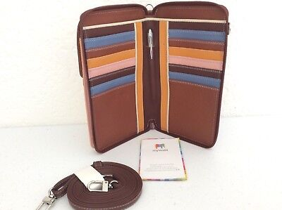 MyWalit Zip Roughly Mega Purse Iphone Leather Convertible Crossbody Wallet Siena