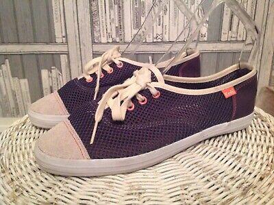 Keds Size 4 Ladies Canvas Lace Up. Blue Plimsoles. MR7574