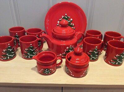 Waechtersbach Christmas Tree Mugs, Teapot, Sugar Bowl, Creamer & Plate - PU ONLY