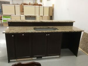 Kitchen Island with Granite Countertop and Bar
