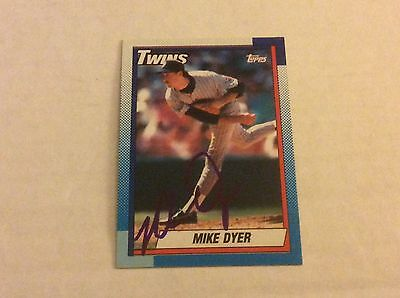 1990 Topps 576 Mike Dyer Twins Autographed Auto Signed Card