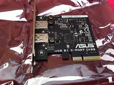 Asus USB 3.1 Card - PCI Express x4 - Plug-in Card - 2 USB Port(s),100% ORIGINAL