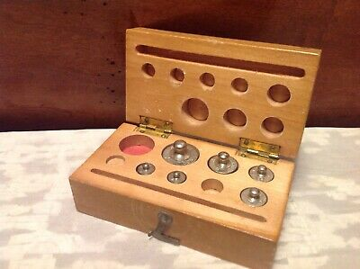 Vintage Steel Calibration Apothecary Scale Weight Set Wwood Box-incomplete