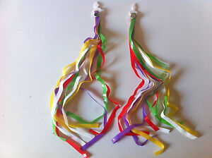 BICYCLE-HANDLEBAR-STREAMERS-red-green-yellow-purple-CRUISER-BMX-KIDS-BIKES