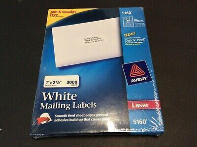 Avery White Laser Easy Peel Address Labels 3000 Labels 5160