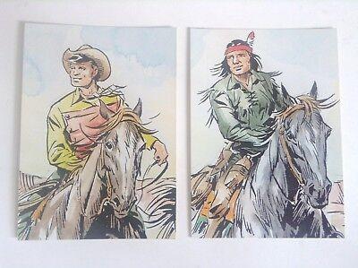 Lot de 2 cartes postales Kit Tex et Tiger Galeppini ETAT NEUF