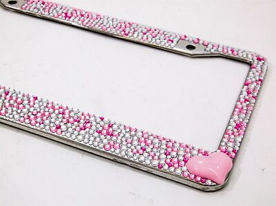 Pink and Silver with Pink Heart Crystal Rhinestone License Plate Frame Car Auto