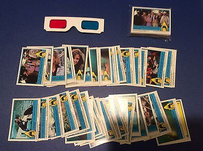 Complete 44 Card Set 1983 3-D Jaws Trading Cards Topps Company + 3-D glasses